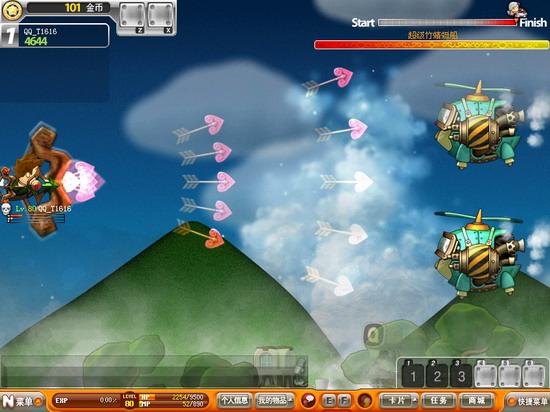 游戏精美插图 娜娜尼莫浪漫飞行 腾讯首款飞行射击划时代巨作 《QQ飞行岛》全球首款横板飞行射击网游,凭借其独一无二的玩法和别具一格的社区体验成为2008万众期待的休闲巨作。《QQ飞行岛》的核心玩法飞行射击是经典街机游戏的创新衍生,游戏采用韩国流行的NANA画风,伴随着变身宠物、地宫战斗、房屋装扮、卡片收集、师徒情侣等丰富的社区体验,结合腾讯独有的网络平台而一跃成为休闲游戏史上划时代的焦点作品。《QQ飞行岛》内测期间便热潮不断、追捧不竭,7月8日全面公测,即将引领全民飞行的饕餮盛筵!  游戏精美插图 精
