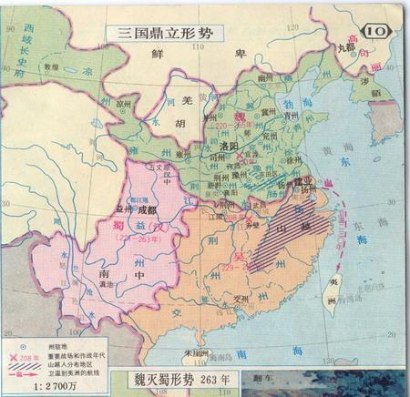 地图元素包括:城池,关隘等等,每个城池使用颜色标示出所属的国家,使用图片